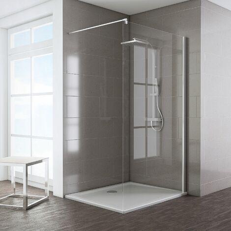 Paroi de douche à l'italienne, Walk In Schulte Espace 8 T, verre 8 mm, profilé aspect chromé