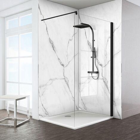 Paroi de douche à l'italienne, Walk In Schulte Espace 8 T, verre 8 mm, profilé noir