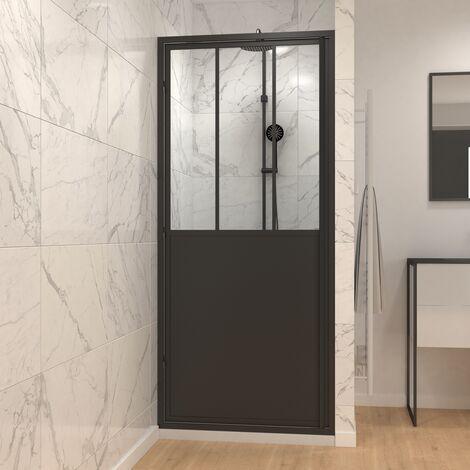 Paroi de douche à porte pivotante type atelier - 80 ou 90cm - PORTE PIVOTANTE - PROFILE NOIR MAT - verre transparent 5mm - WORKSHOP