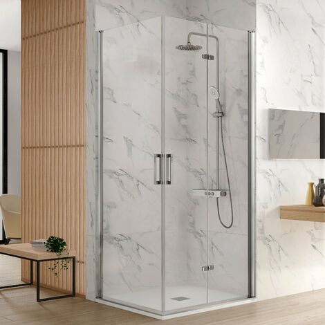 Paroi de douche accès en angle 1 porte pliante 65 cm + 1 porte pivotante 55 cm ancre de porte pliante à Droite NARDI