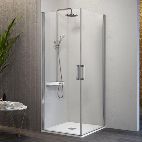 Paroi de douche accès en angle 2 portes pivotantes NARDI 80 x 80 cm