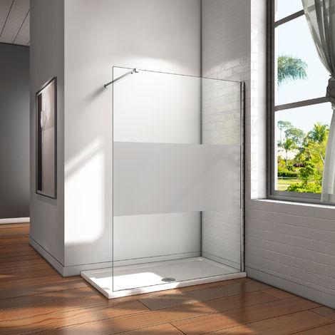 Paroi de douche AICA 100x200cm en verre anticalcaire Walk in paroi de fixation avec barre de fixation