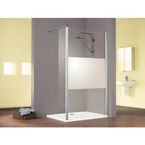 Paroi de douche à l'italienne avec retour pivotant, verre 6 mm anticalcaire, paroi de douche fixe sablée au milieu, Solo, Schulte, 120 x 35 x 200 cm - Décor décent