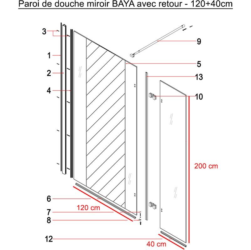 Paroi de douche fixe avec retour 8 mm BAYA 120+40 cm et miroir