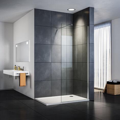 Paroi de douche avec receveur de douche Rectangle avec tige de support de 100 cm SIRHONA