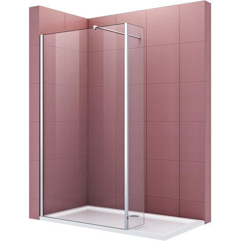 Paroi de douche avec volet pivotant à l'italienne 70 + 30 cm x 190 cm verre trempé 8mm avec barre de fixation 100 cm découpable