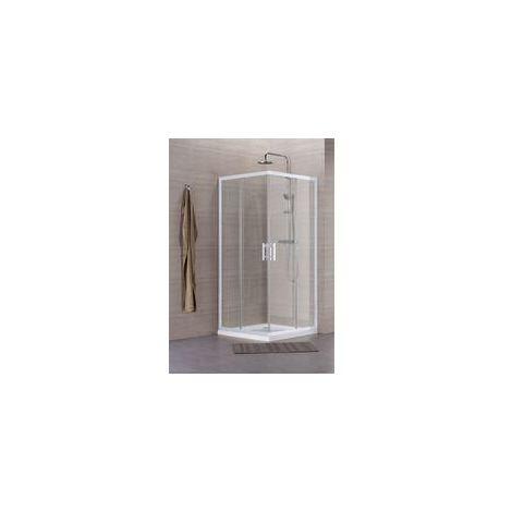 Paroi de douche Concerto acces d'angle coulissant L 80 x H 195 cm profile blanc verre transparent