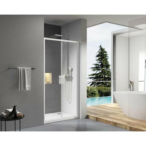 Paroi de douche Concerto acces de face 2 portes battantes 80 cm profile blanc verre transparent ALTERNA, Ref. NDI80W