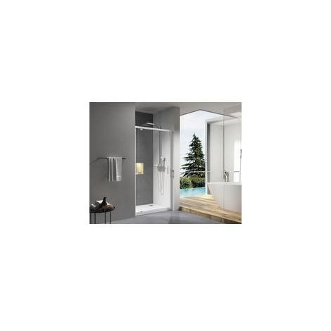 Paroi de douche CONCERTO porte pivotante ouverture gain de place 80 cm profile blanc verre transparent ALTERNA, Ref.NDZ80W-B