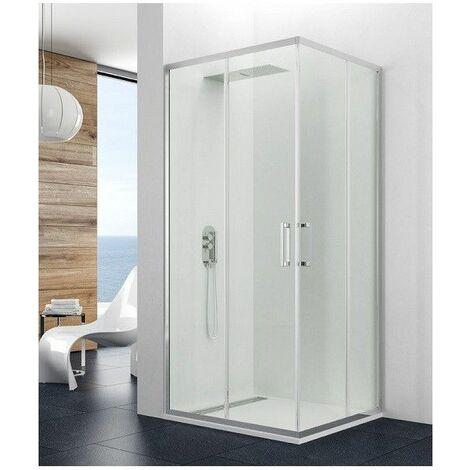 Paroi de douche d'angle 8mm 70x100cm accès sur angle blanc Theia - Blanc