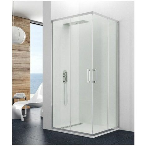 Paroi de douche d'angle 8mm 80x90cm accès sur angle blanc Theia - Blanc