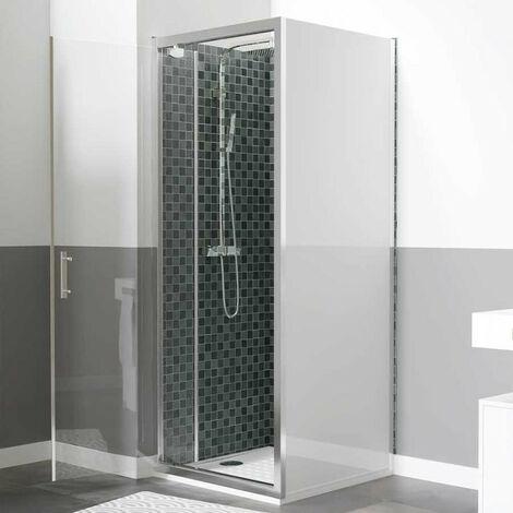 Paroi de douche d'angle avec porte pivotante et retour blanc NERINA - 90x90 cm
