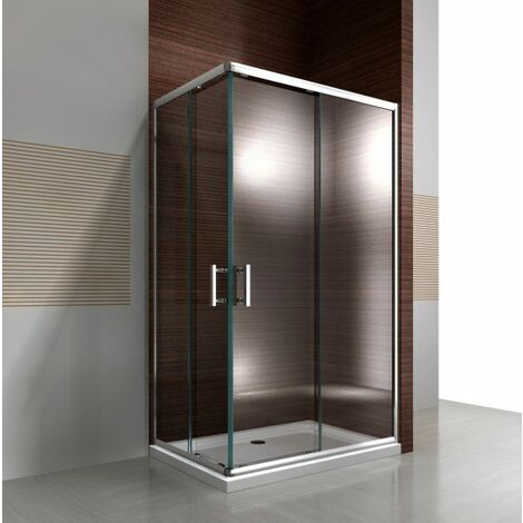 Paroi de douche d´angle,porte coulissante, en verre véritable NANO EX506 90 x 120 x 195 cm - sans receveur
