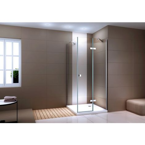 Paroi de douche en coin en verre véritable transparent - NANO - 80x80x190cm