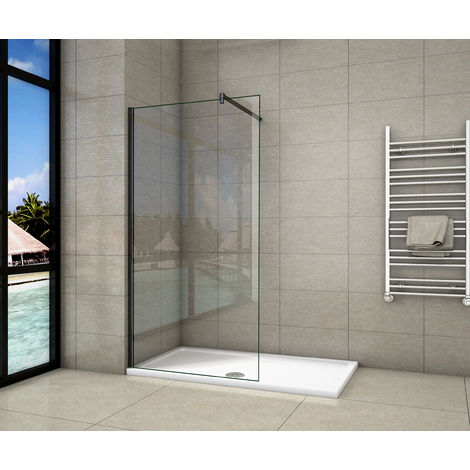 Paroi de douche en noire mat paroi à l'italienne en 8mm verre anticalcaire livré avec une barre de fixation 140cm en noire mat