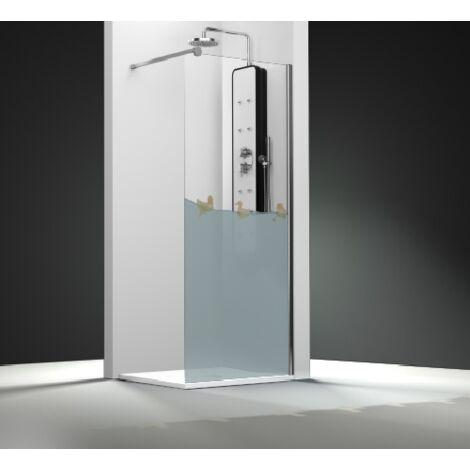 Paroi de douche fixe 1 panneau - Décor Canards   de 50 à 90 cm