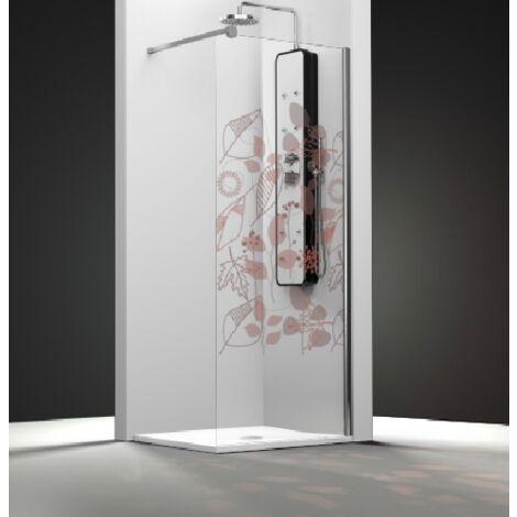 Paroi de douche fixe 1 panneau - Décor Feuilles Automne   de 16 à 50 cm