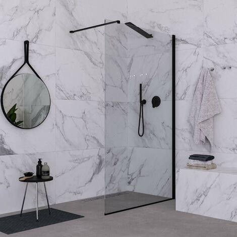 Paroi de douche fixe 100 cm verre transparent finition noir mat Ponsi Rex BBREXKWALK0010 | 100 cm (98-100)