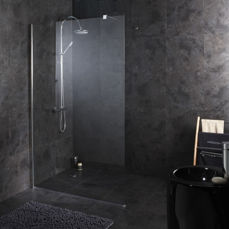 Paroi de douche fixe 120X195 cm tout inox haute qualite