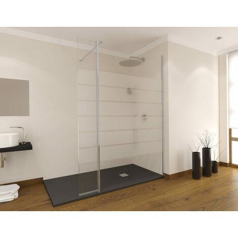 Paroi de douche fixe avec aile pivotante Milano - verre sérigraphié