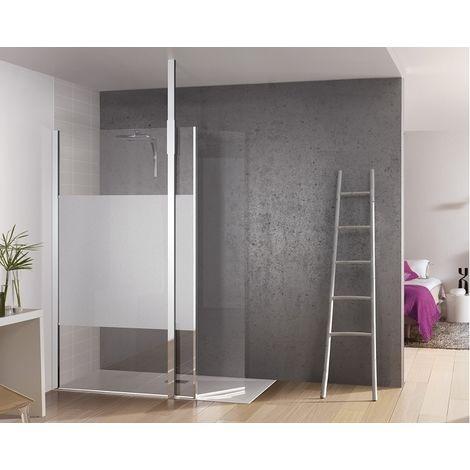 paroi de douche fixe avec bande centrale d polie volet. Black Bedroom Furniture Sets. Home Design Ideas