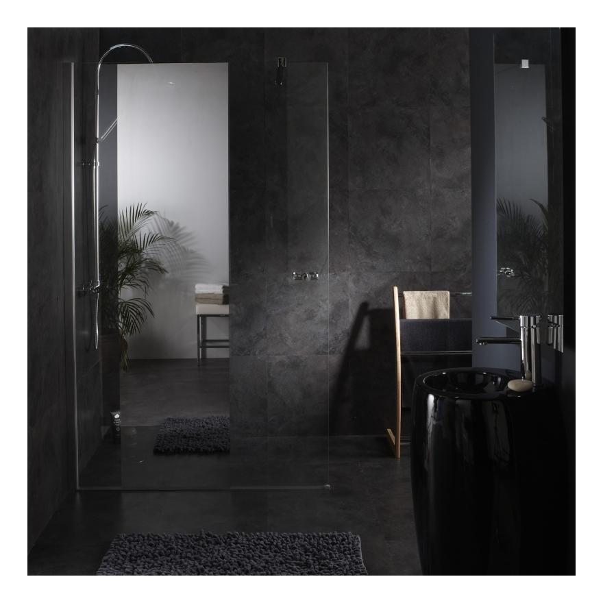 Paroi de douche fixe avec bande effet miroir integre 120X195 CM