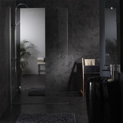 Paroi de douche fixe avec bande effet miroir integre - Porte de douche avec paroi fixe ...