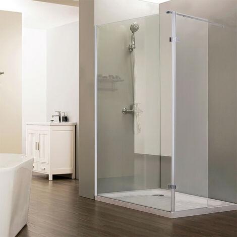 Paroi de douche fixe CALYPSO verre 8 mm avec retour - 100+40 x 200cm