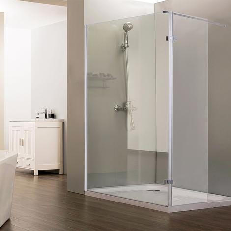 Paroi de douche fixe CALYPSO verre 8 mm avec retour - 120+40 x 200cm