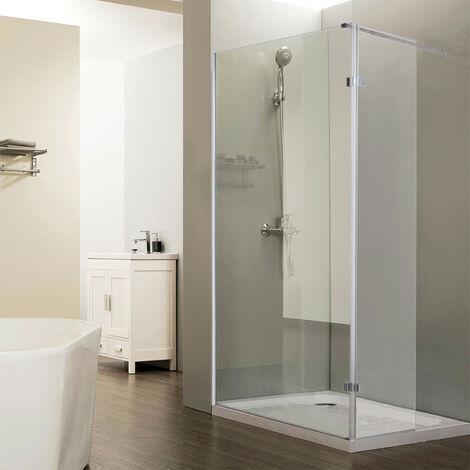 Paroi de douche fixe CALYPSO verre 8 mm avec retour - 90+40 x 200cm