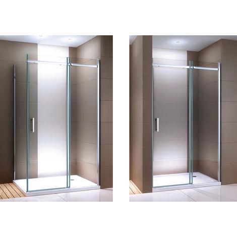 Paroi de douche fixe et porte coulissante DX806A en verre véritable traitement Nano - largeur sélectionnable