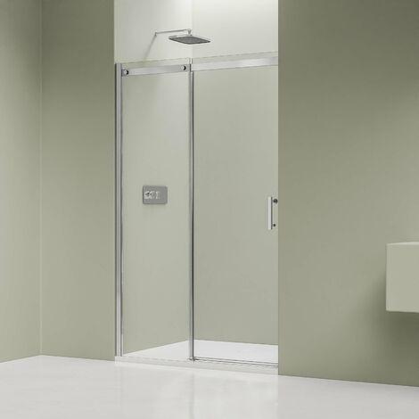 Paroi de douche fixe et porte coulissante DX806A FLEX en verre véritable traitement Nano - largeur sélectionnable