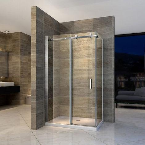 Paroi de douche fixe et porte coulissante en verre véritable Nano 6mm EX802 - 80 x 100 x 195 cm - avec receveur