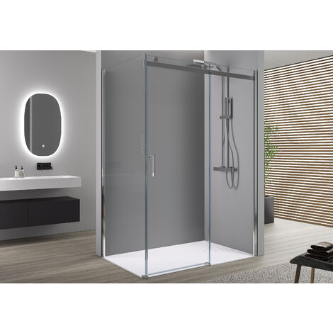 Paroi de douche fixe et porte coulissante EX806, en verre de sécurité traitement NANO - 90 x 120 x 195cm