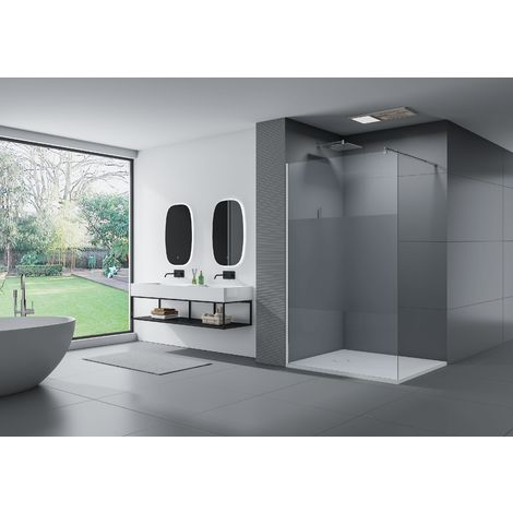 Paroi de douche fixe latérale en verre de sécurité 10mm, satiné partiel, EX101, largeur sélectionnable