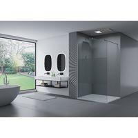 Paroi de douche fixe latérale en verre de sécurité 8mm, satiné partiel, EX101, largeur sélectionnable