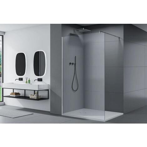 Paroi de douche fixe latérale en verre transparent de sécurité 8mm, EX101, largeur sélectionnable