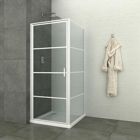 Paroi de douche fixe LOFT-GAME - style industriel - verre 8 mm - fermeture magnétique - blanc - 87-89 x 200 cm