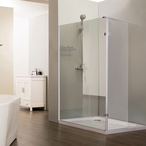 Paroi de douche fixe NEPTA verre 8 mm avec retour - 100+40 x 185cm