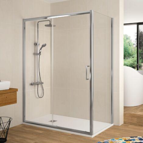 Paroi de douche fixe + Porte coulissante BELLA 125 cm Sans paroi latérale