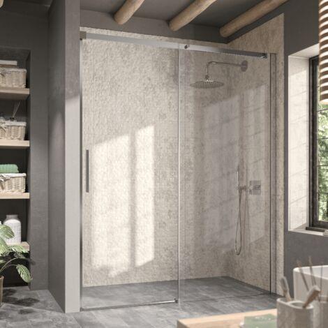 Paroi de douche fixe + Porte coulissante LUNA 100 cm Sans paroi latérale