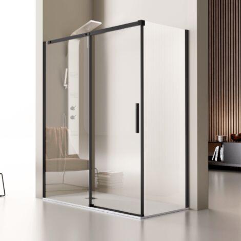 Paroi de douche fixe + Porte coulissante LUNA profil noir mat 100 cm Sans paroi latérale - Noir