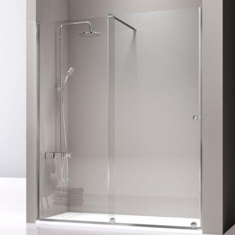 Paroi de douche fixe + Porte coulissante VOLARÉ 100 - 105 cm Avec seconde paroi de 66 - 69 cm