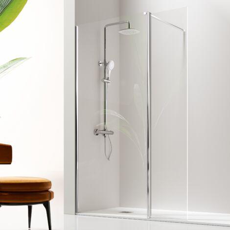 Paroi de douche fixe + Porte pivotante GIRO 105 cm