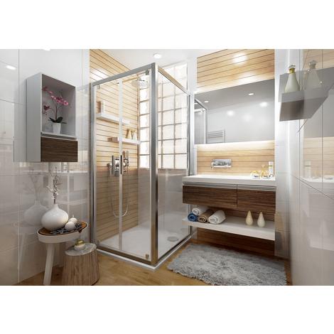 Paroi de douche fixe pour porte ANCOSWING en verre transparent 4mm, 90x190 cm, profil argent