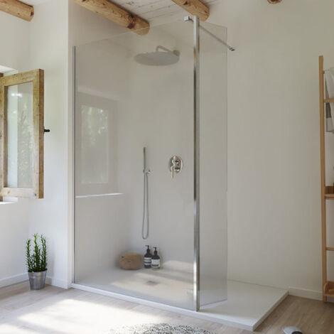 Paroi de douche fixe Single avec aile pivotante chromé - 80 cm