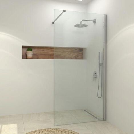 Paroi de douche fixe SINGLE en verre 8 mm, profil noir