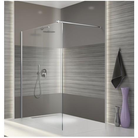 Paroi de douche fixe verre transparent - 110 cm - Open 2 - Leda