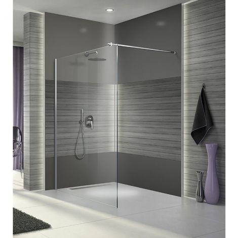 Paroi de douche fixe verre transparent - Open 2 - Leda
