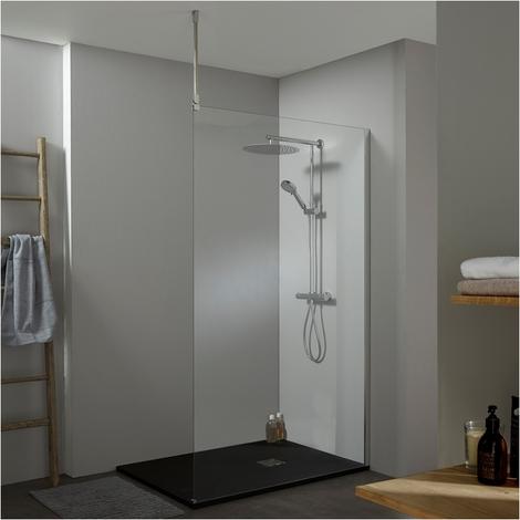 Paroi de douche fixe walk in 120x200 cm avec fixation plafond